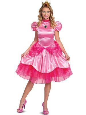 Deluxe Pink Satin Princess Peach Super Mario Costume for Plus Size Women - Front View