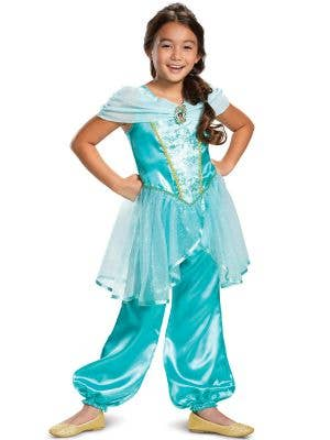 Classic Princess Jasmine Disney Aladdin Dress Up Costume for Girls - Main Front Image