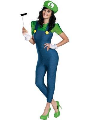 Deluxe Plus Size Women's Luigi Super Mario Costume - Main Image