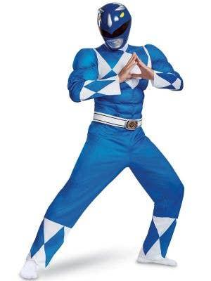 Mens Blue Power Ranger Costume - Front Image