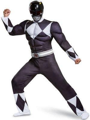 Men's Plus Size Classic Black Muscle Chest Power Ranger Costume - Front Image