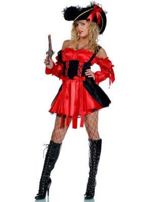 Women's Sexy Red And Black Pirate Costume Full Length View