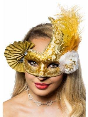 Elaborate Gold Fan Masquerade Mask