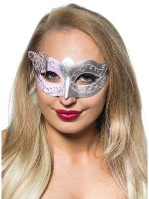 Butterfly Venetian Masquerade Mask in Pale Pink and Silver