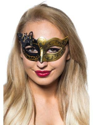 Butterfly Venetian Masquerade Mask in Black and Gold