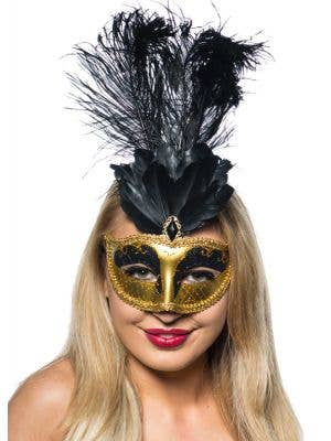Women's Black And Gold Tall Feather Masquerade Mask Front