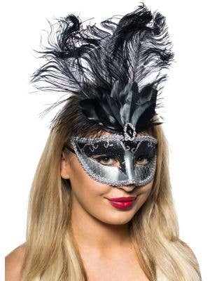Elegant Tall Feather Masquerade Mask Black and Silver