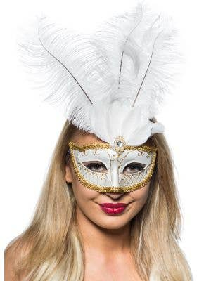 Elegant Tall Feather Masquerade Mask, White and Gold
