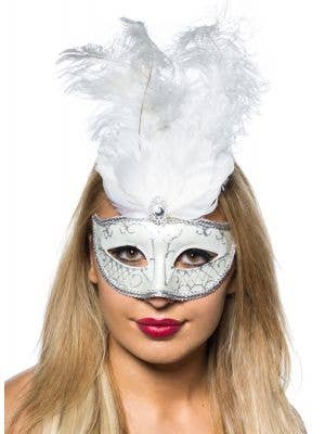 Women's White Tall Feather Masquerade Mask Main