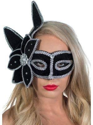 Luxury Elaborate Leaf Masquerade Mask, Black and Silver