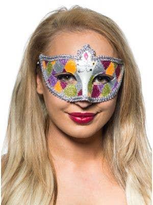 Harlequin Silver Braid and Glitter Venetian Masquerade Mask