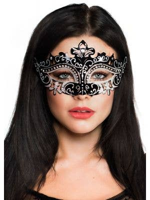 Cut Out Black Masquerade Mask with Rhinestones