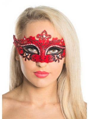 Cut Out Red Masquerade Mask with Rhinestones