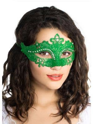 Cut Out Green Masquerade Mask with Rhinestones