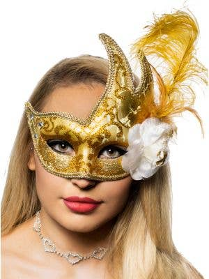 Jewelled Gold Luxury Feather Masquerade Mask