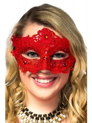 Red Lace Overlay Masquerade Mask with Glitter and Jewels