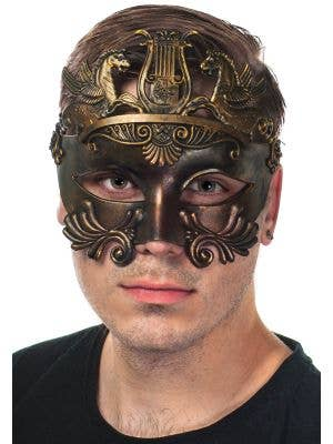 Antique Bronze Men's Ancient Centurion Masquerade Mask Front View