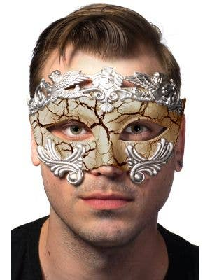 tan and Silver Ancient Roman Style Crackle Paint Masquerade Mask