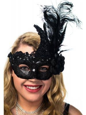 Deluxe Women's Black Glitter and Lace Feather Masquerade Mask