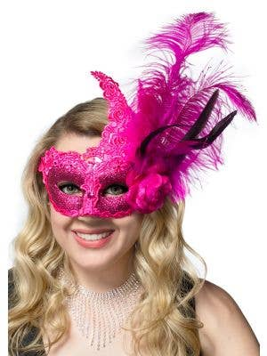 Deluxe Hot Pink Lace, Glitter and Feather Mask