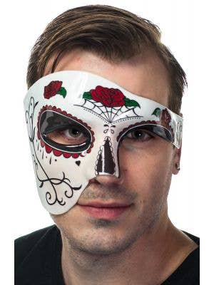 Men's Roses Sugar Skull Day of the Dead Half Face Masquerade Mask Front View