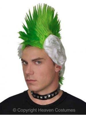 80's Punk Green Mohawk Costume Wig