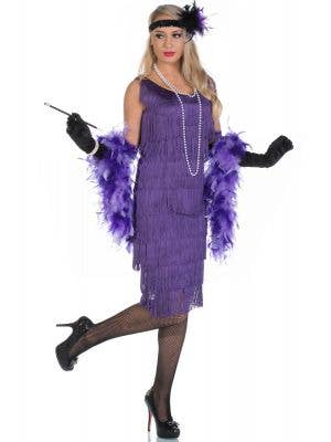 Women's Long 1920's Purple Flapper Dress Front View
