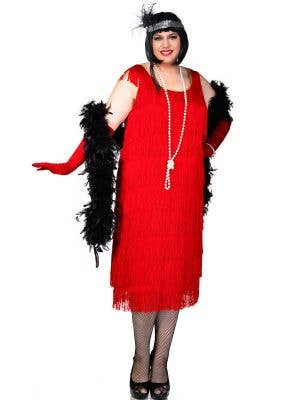 Plus Size Long Deluxe Roaring Red Women's Flapper Costume Front View