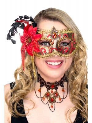 Deluxe Red and Gold Brocade Side Flower Masquerade Mask view 1
