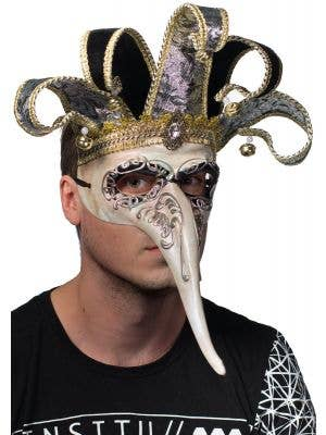Deluxe Men's Long Nose Jester King Masquerade Mask View 2