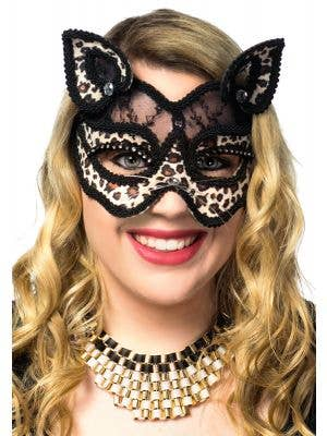 Black Lace and Leopard Print Velvet Cat Face Masquerade Mask View 2