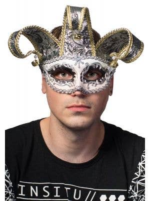 Men-s Deluxe Jester Masquerade Mask View 1
