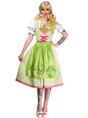 Green and White Checkered Women's Long Oktoberfest Costume Front View