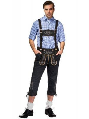 Men's Blue and Black Lederhosen Oktoberfest Costume Front View