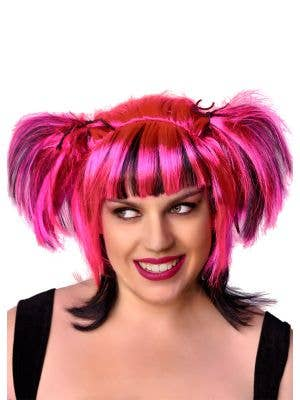 Women's Candy Pink Fairy Costume Wig with Black Streaks