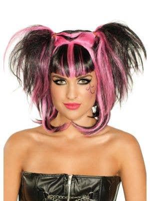 Pink and Black Dark Angel Women's Halloween Costume Wig