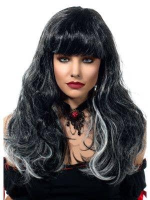 Undead Gothic Bride Black and White Costume Wig