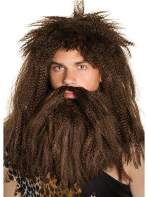 Prehistoric Caveman Brown Wig and Beard Set