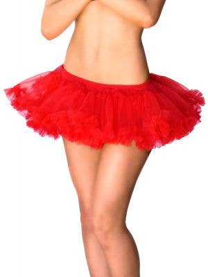 Red Short Fluffy Red Tutu Petticoat CloseView