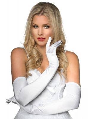 White Elbow Length Women's Deluxe Satin Costume Gloves Main Image