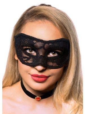Elegant Black Transparent Lace Masquerade Mask