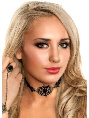 Spiderweb Black An Gold Halloween Choker Necklace Costume Accessory Main Image 1