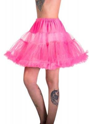 Women's Hot Pink Thigh Length Fluffy Costume Petticoat