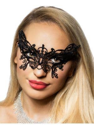 Women's Black Lace Butterfly Masquerade Mask Front 1