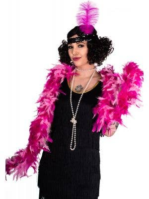 Two Tone Feather Boa in Pink and Hot Pink View 1