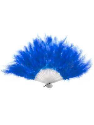 Fluffy Blue Feather Hand Held Costume Fan