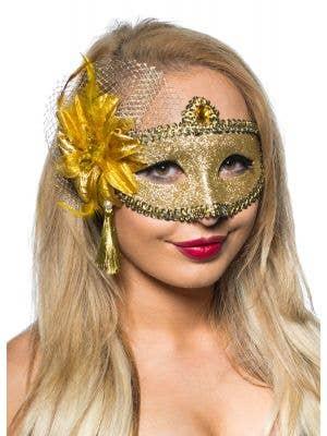 Celebration Gold Glitter Masquerade Mask