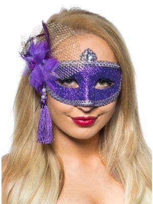 Celebration Purple Glitter Masquerade Mask