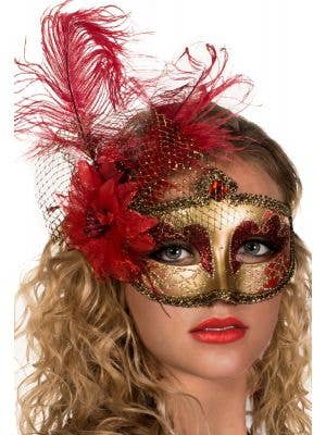 Victorian Red and Gold Masquerade Mask