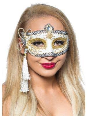 Tassel White and Gold Venetian Masquerade Mask